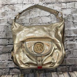 Michael Kors Fulton Large Pale Gold Leather Bag